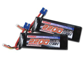 Saving Combo: 2 Packs Tenergy 25C 2200mAh 11.1V 3S Li-Polymer battery w/ EC3 Connector for 3D flyer of Trex 400/450 and other similar size RC Helicopters