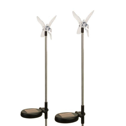 (2 Pack) Solar Powered Color Changing Outdoor Garden Pathway Stake Led Hummingbird Light