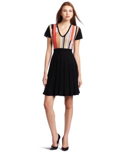 Jessica Simpson Women's V-Neck Pleat Skirt Dress with Zipper Shoulder Detail