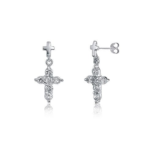 Sterling Silver 925 Cubic Zirconia CZ X-Small Cross Dangle Earrings, Holiday Christmas Gift