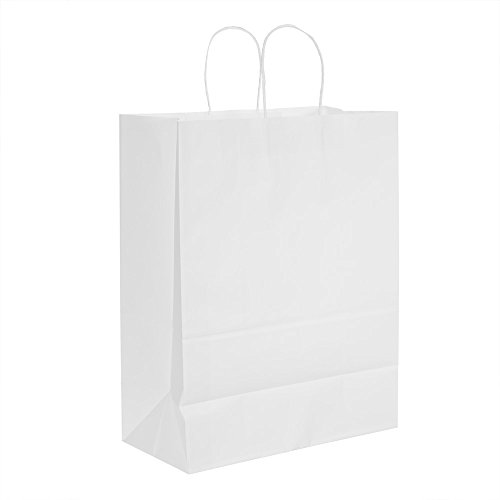 Halulu White Kraft Paper Bags, Shopping, Mechandise, Party, Gift Bags - Recycled Paper Bag 13x7x17