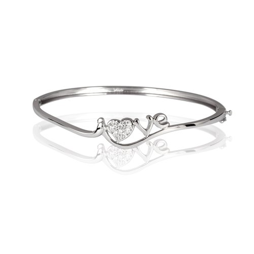 Fashion Plaza 925 Sterling Silver Eternal Love Heart Bangle Bracelet with Swarovski Elements Measures 6cm*5cm Weights 7.2g Y33