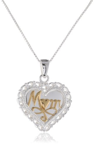"""Sterling Silver and Gold over Sterling Silver """"Mom, A Mother's Love Is The Greatest Gift of All"""" Reversible Heart Pendant Necklace, 18″"""