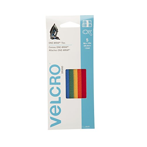 """Velcro Brand - One-Wrap: For Cables, Wires & Cords - 8"""" X 1/2"""" Ties, 5 Ct. - Multi-Color front-16326"""