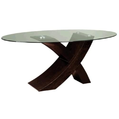 Xavier oval glass top dining table for Oval glass dining table