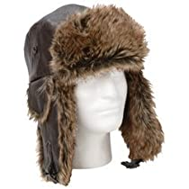 Giovanni Navarre Solid Genuine Leather Aviator-style Winter Hat