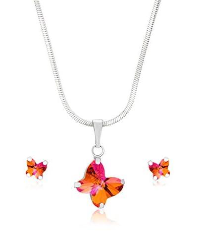 Bohemian Love Story Conjunto de cadena, colgante y pendientes Tiny Butterflies Rosa