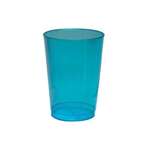 Party Essentials Hard Plastic 10-Ounce Party Cups and Tall Tumblers, Neon Blue, 25-Count - 1