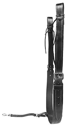 BLACK LEATHER FLANK CINCH SET BACK CINCH WESTERN CINCHES SADDLE HORSE TACK (Standard)