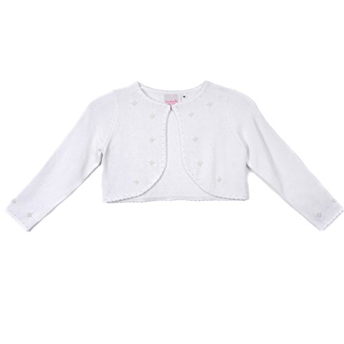 Cinderella Couture Big Girls White Pearl Beaded Soft Hook Closure Sweater 8-14