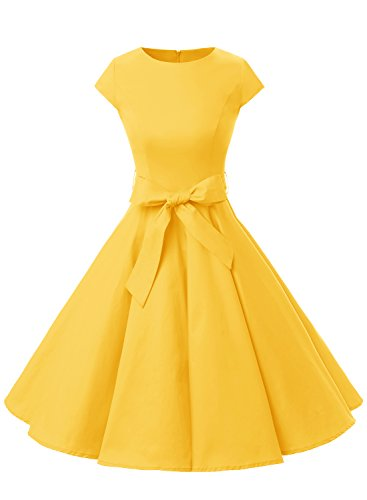 Dressystar Vintage 1950s Polka Dot and Solid Color Party Prom Dresses Rockabilly Cap Sleeves S Yellow