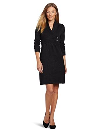 Evan Picone Women's Shawl Collar Easy Fit A Line Dress, Multi, Large