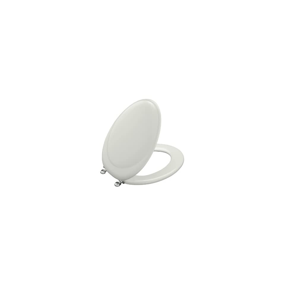 KOHLER K 4615 CP W2 Revival Elongated Toilet Seat with Polished Chrome Hinges, Earthen White