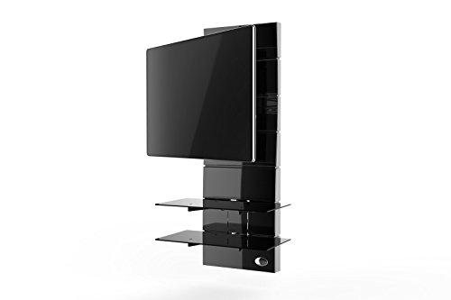 """Meliconi Ghost Design 3000 Rotation Supporto Doppio Braccio Orientabile per TV da 32"""" a 63"""" con Mensole in Vetro Temperato, Nero"""