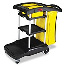 "Rubbermaid Housekeeping Service Cart with Two Caddies, Black, 49.75"" Length, 21.75"" Width, 38.38"" Height, Black"