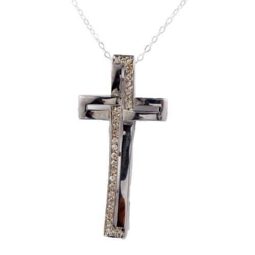 Sterling silver pink czs cross pendant necklace on 18