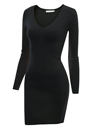 Doublju Fitted Long Sleeve Knit Jersey Dress BLACK (US-S)
