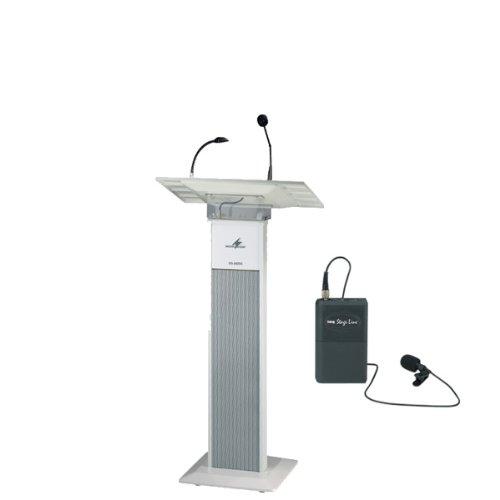 Rednerpult-mit-Wireless-Verstrker-und-Tie-Clip-Mikrofon