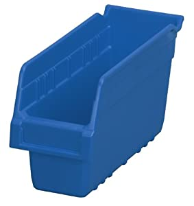 Akro-Mils 30040 ShelfMax Plastic Nesting Shelf Bin Box, 12-Inch Length x 4-Inch Width x 6-Inch Height, Case of 16, Blue