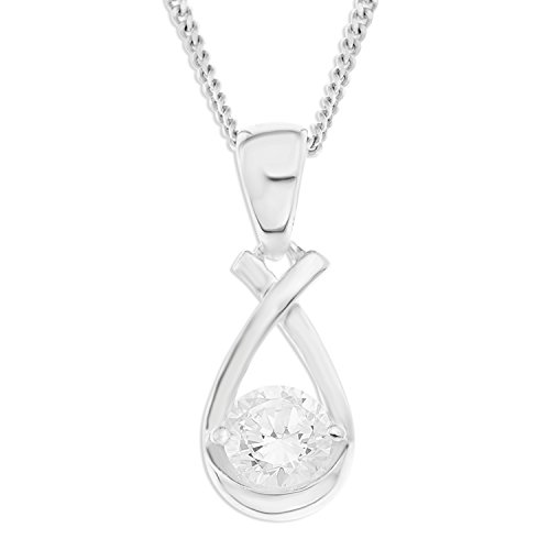 Ornami Sterling Silver CZ Set 'Kiss' Style Loop