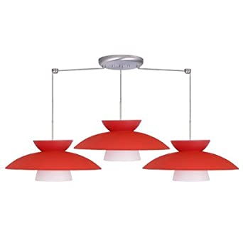 Mesa 3 Light Linear Pendant Finish: Satin Nickel, Glass Shade: Red Matte, Bulb Type: LED