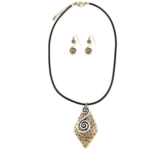 Black Cord Fashion Necklace With Diamond Shape Textured Pendant with Swirls and Matching Earrings -15 Length