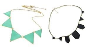 niceEshop(TM) 2Pcs Pack- Green Fashion Triangle Collar Necklace Choker Punk Style Glaze Geometric Pendent + Chic Geometric Figure Collar Necklace European Fashion Resin Jewelry-Black