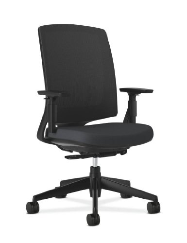 HON Lota Mid-Back Work Chair with Mesh Back for Office or Computer Desk, Black