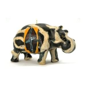Imported African Handmade Hippo Safari Animal Candle, medium