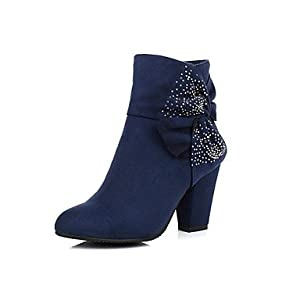 WCG Women's Shoes Fashion Boots Chunky Heel Ankle Boots with Bowknot More Colors available , Blue-US9 / EU40 / UK7 / CN41 , Blue-US9 / EU40 / UK7 / CN41