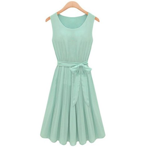Sleeveless Pleated Chiffon Lining Womens