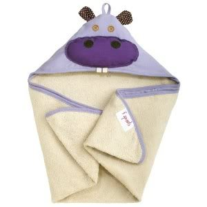 3 Sprouts Hooded Machine Washable Towel (Perfect Gift For Newborn Or Baby Shower) - Purple Hippo Baby / Child / Infant / Kid