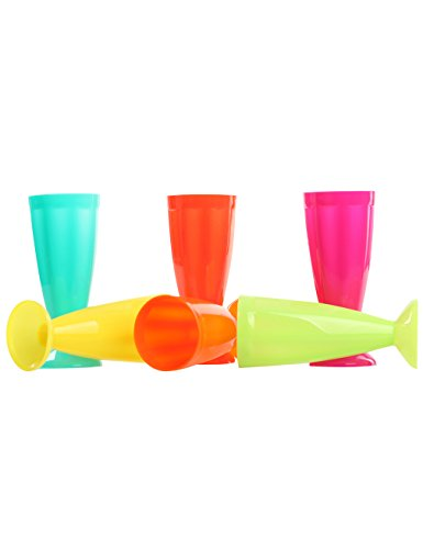 Gameyly 6 Pack Colorful Reusable Party Cups Plastic Soda Glasses Colorful (Soda Shoppe Glasses compare prices)