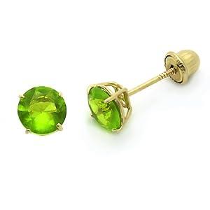 14K Yellow Gold Round 5mm Birthstone CZ Stud Earrings For Kids & Children (August, Peridot)