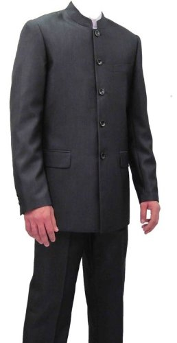 Mens Marc Darcy Charcoal 2PC Nehru/Grandad Collar Suit, Black, Jacket 48