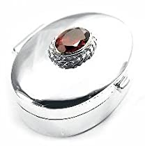 Hot Sale PillBox Sterling Silver GARNET Classic Oval Pill Box