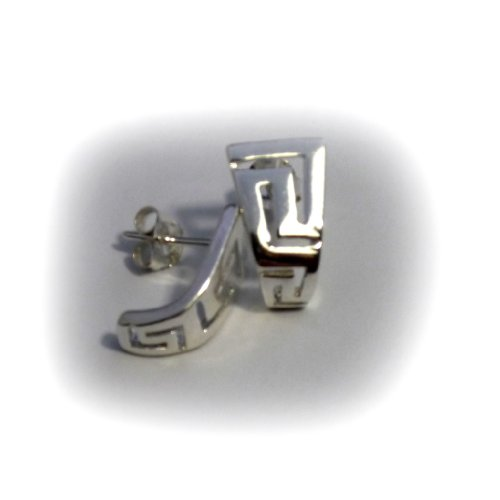 Sterling Silver Ancient Greek Key Stud Earrings