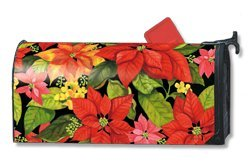 Poinsettia Welcome Magnetic Mailbox Cover