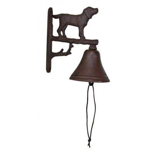 Cast Iron Dog Dinner Bell Yard Art Wall Hanging Garden