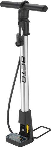 Beto - Pompa da officina con manometro, corpo in lega, base ripiegabile, colore: Argento