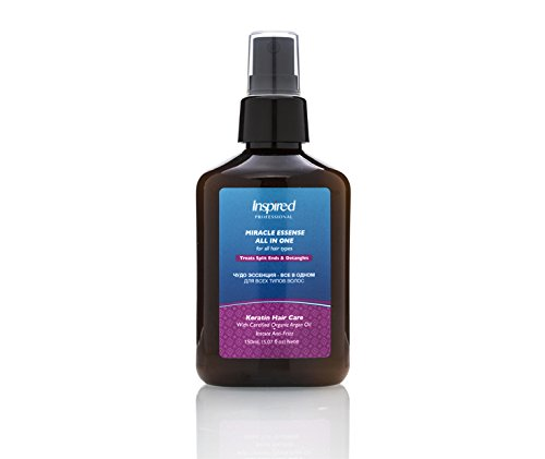 Inspired Professional Miracle Essense All In One Keratin Hair Repair Care Salt Free Certified Moroccan Organic Argan Oil Instant Anti Frizz Glamour Ease Repairing Leave-In Solution 150 ml / 5.07 fl.oz (Aveda Heat Protectant compare prices)