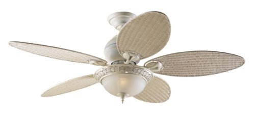 Hunter 21648 Caribbean Breeze 2-Light 54-Inch 5-Blade Ceiling Fan, Textured White with Frosted Globe