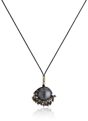 Mizuki 14k Necklace Black Poly-Silk Black South Sea Pearl Black Diamond