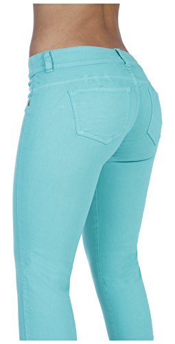 Curvify 600 Premium Women's Classic Butt Lift Skinny Jeans Aqua 7 (Light Blue Strech Jeans compare prices)