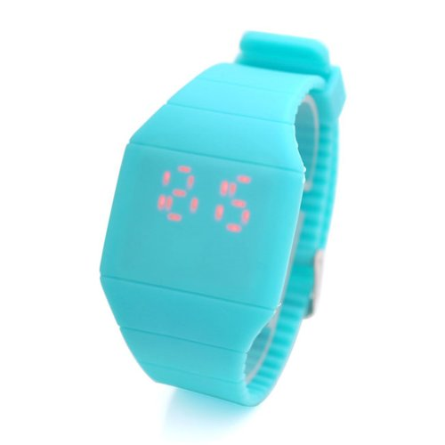 Jovivi Ultra-Thin Unisex Boy And Girl Touch Screen Led Digital Silicone Sport Wrist Watch - Sky Blue