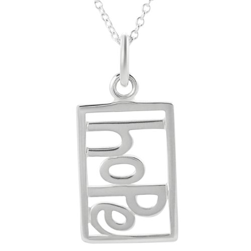 Alexandria Collection Sterling Silver Cut-Out 'Hope' Tag Necklace .925 Stamp