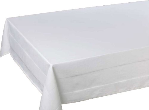 Damast-Tischdecke, Tafeldecke mit Atlaskante,80x80 cm, weiss, 100% Baumwolle