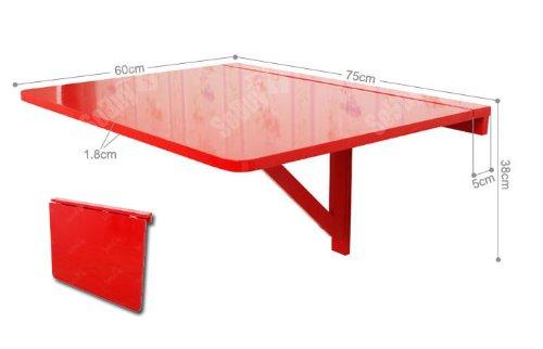 Sobuy tavolo da muro pieghevole in legno 75 60cm colore rosso fwt01 r - Tavolo a muro pieghevole ...