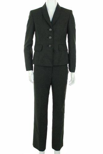 Evan Picone Women's Large Herringhone Pant Suit, Black Multi, 4