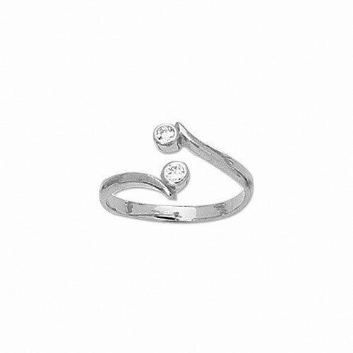 10K White Gold Crossover Shiny CZ Cubic Zirconia Toe Ring Body Art Adjustable